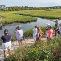 Exploring the Red River marsh.